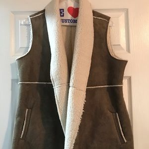Leather and sheep fur vest